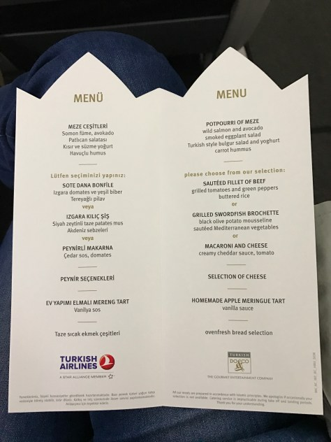 Turkish dinner menu