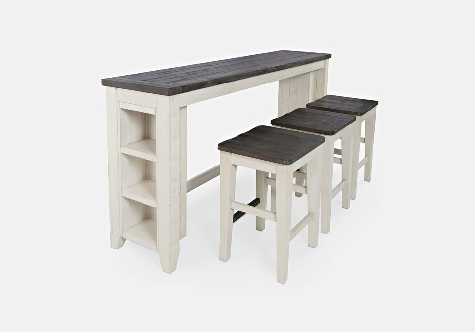 madison county white 4pc sofa table bar set
