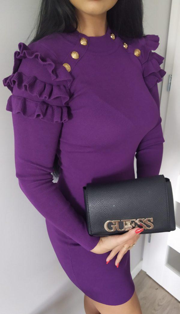 Sukienka z falbankami - Czarna Lou Le Li