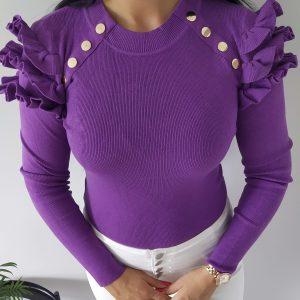 Sweterek elastyczny prążek - fioletowy Lou Le Li