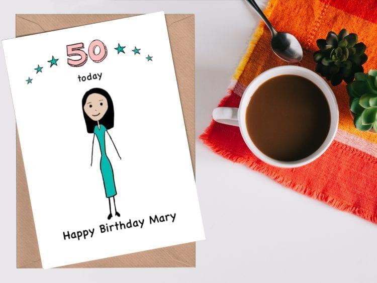 Cartoon Portrait 50th Birthday Card