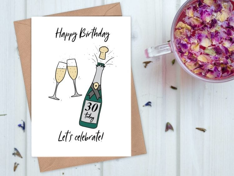 Champagne 30th birthday card