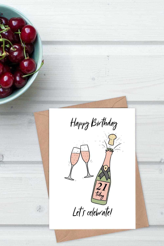 Pink Champagne 21st birthday card
