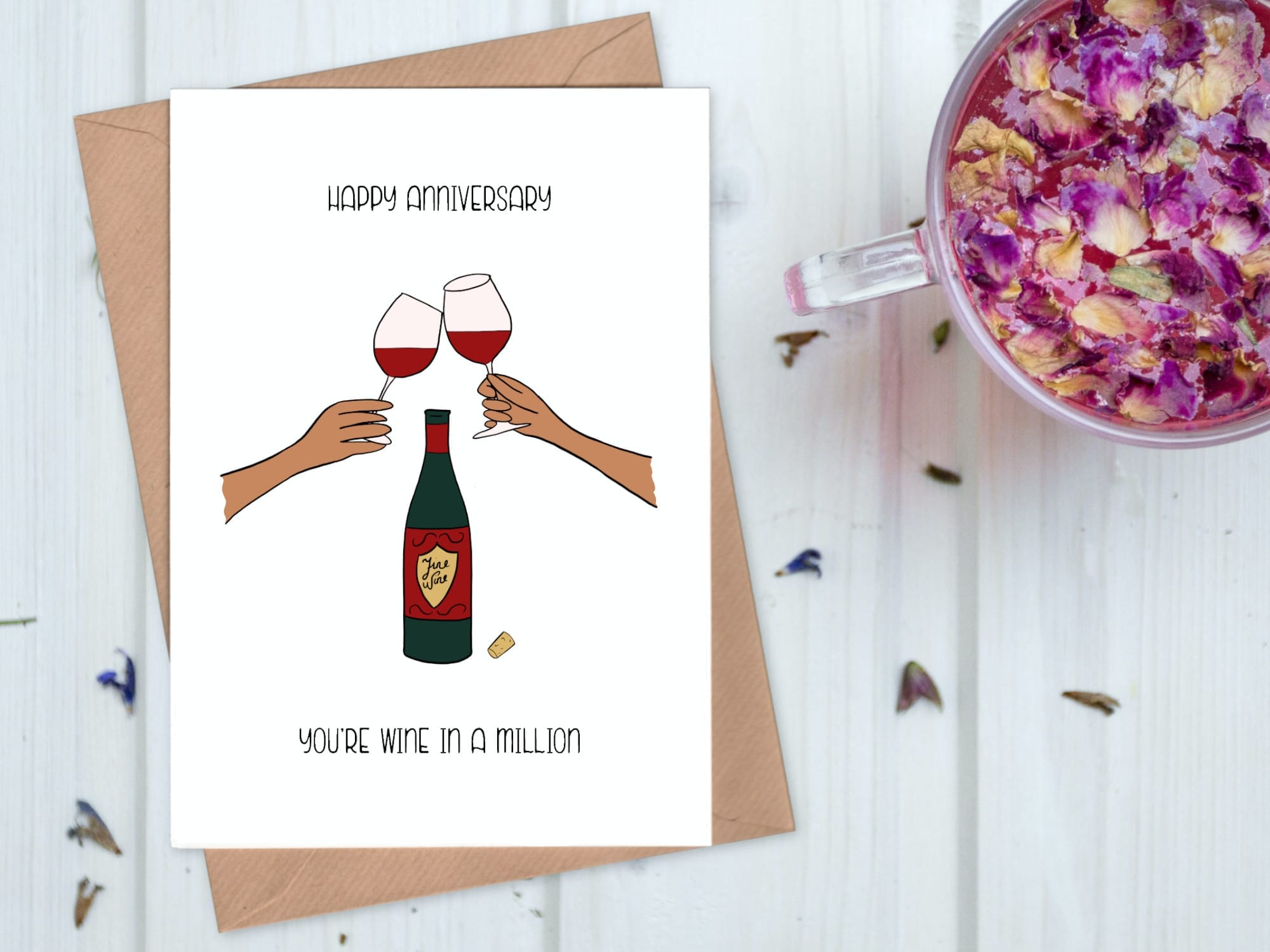Wine in a million anniversary card - red wine