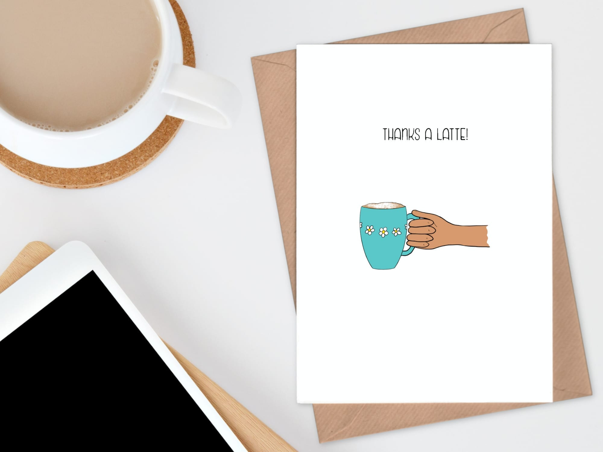 coffee thanks a latte thank you card