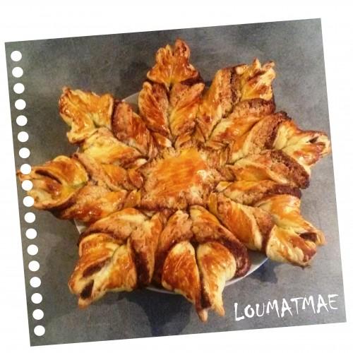 étoile feuilletée de frangipane et pâte à tartiner