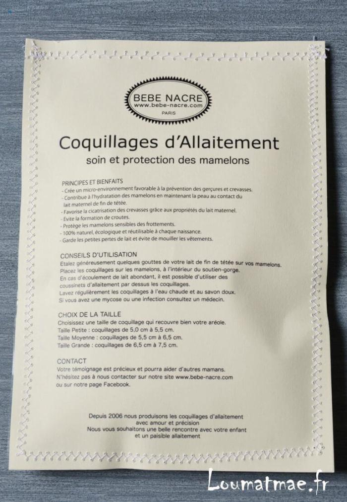 notice coquillages d'allaitement