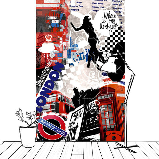 décor mural Londres design vertical Scenolia
