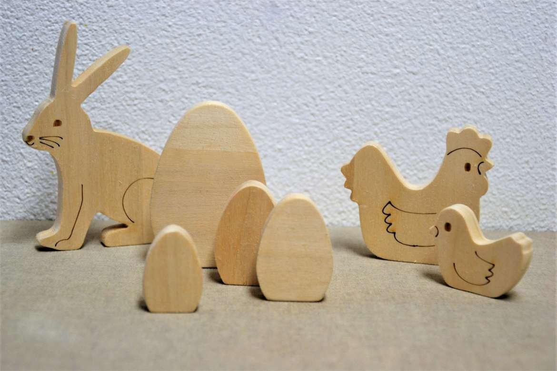 figurines de bois pochette de pâques siou léon