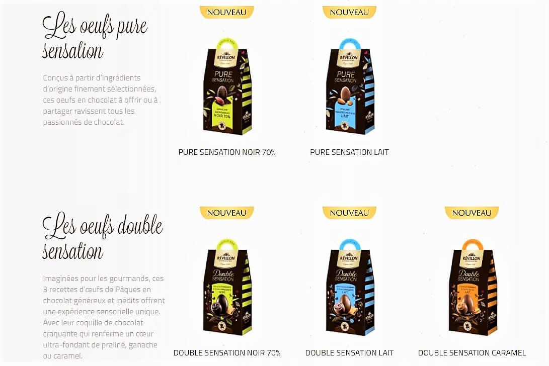 assortiments oeufs de Pâques Révillon Chocolatier