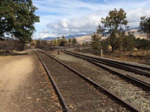 Railroad tracks, approaching the edge of the fire site