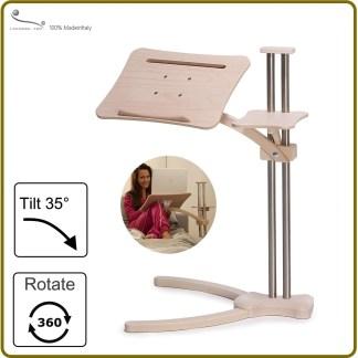 A flly adjustable laptop desk made by wood steel aluminium