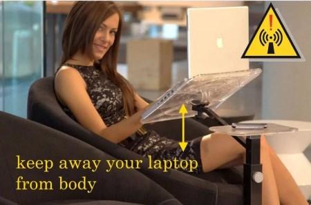 Stoppen Sie EMF-Strahlung halten Sie Ihren Laptop vom Körper fern