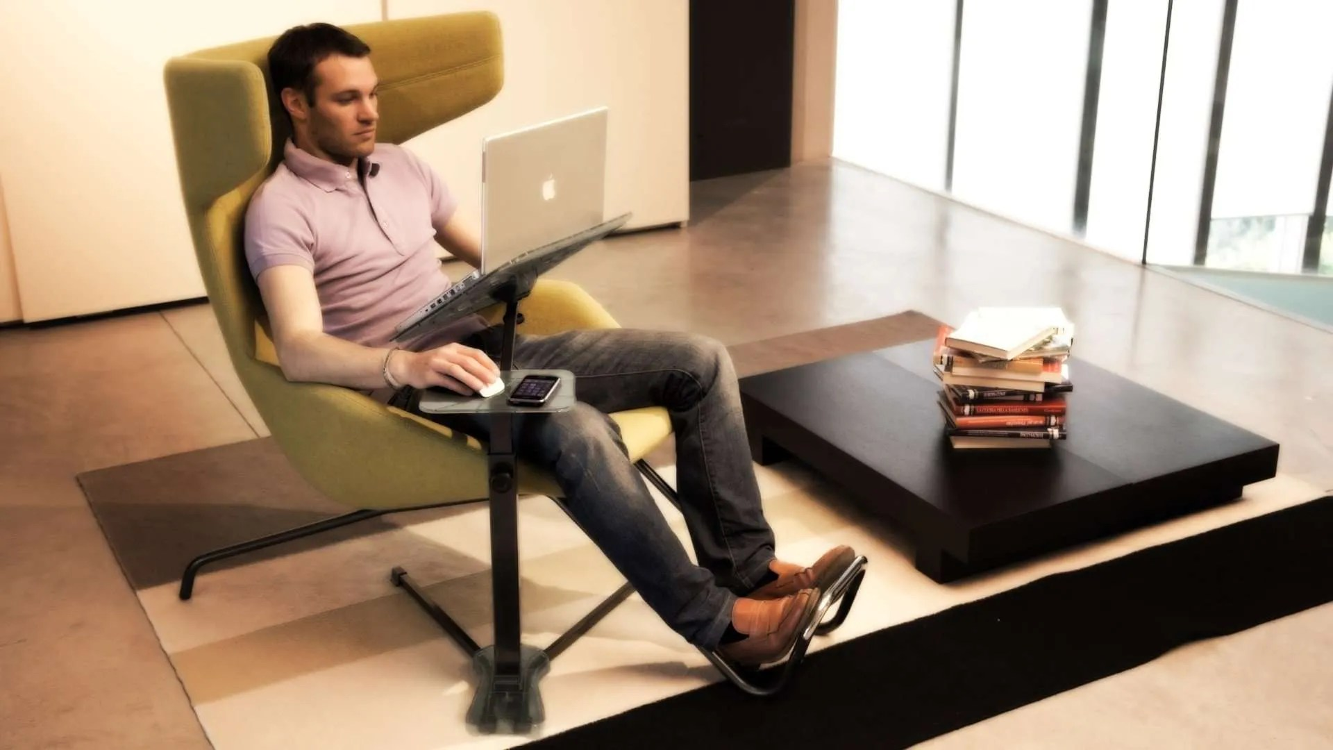 Ergonomic laptop desk. use your laptop, notebook, ultrabook on armchair. Comfort, good posture.