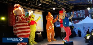 Le clown Bamboo et toutes les mascottes, la boum de Noël des enfants,ont enflammé Lourdes