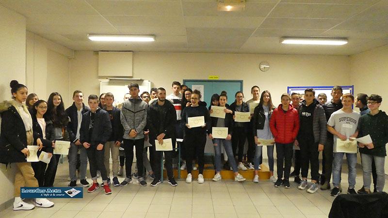 Lourdes : Cérémonie, républicaine de Remise des diplômes Diplôme National du Brevet des collèges et CFG  au collège de Sarsan