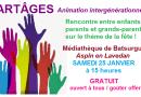 Troisième rencontre intergénérationnelle «PARTÂGES» à la médiathèque de Batsurguère le 25 janvier
