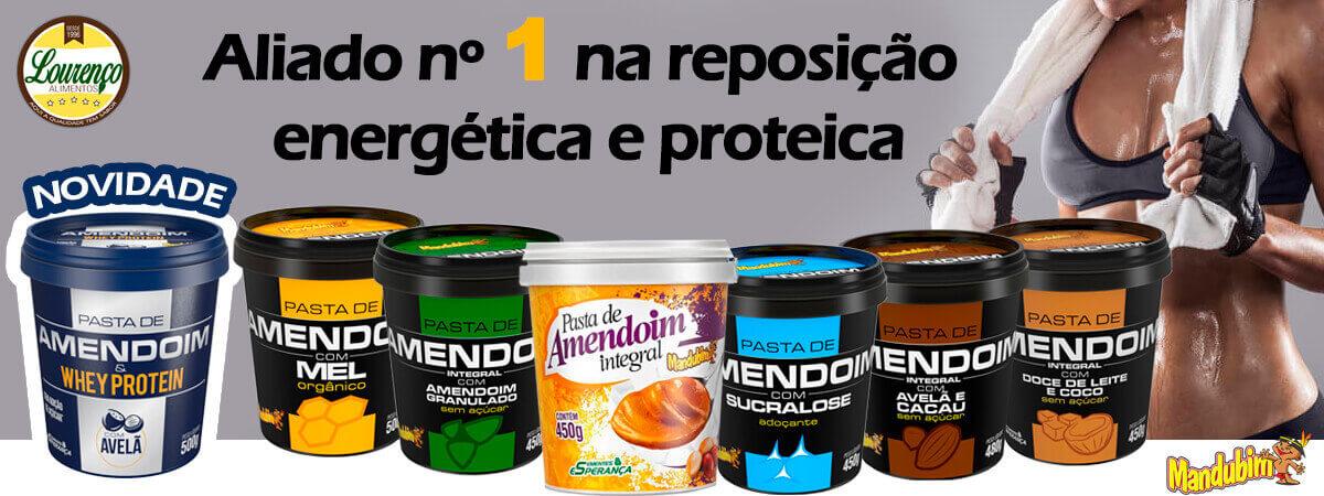 banner mandubim pasta de amendoim - Lourenço Alimentos