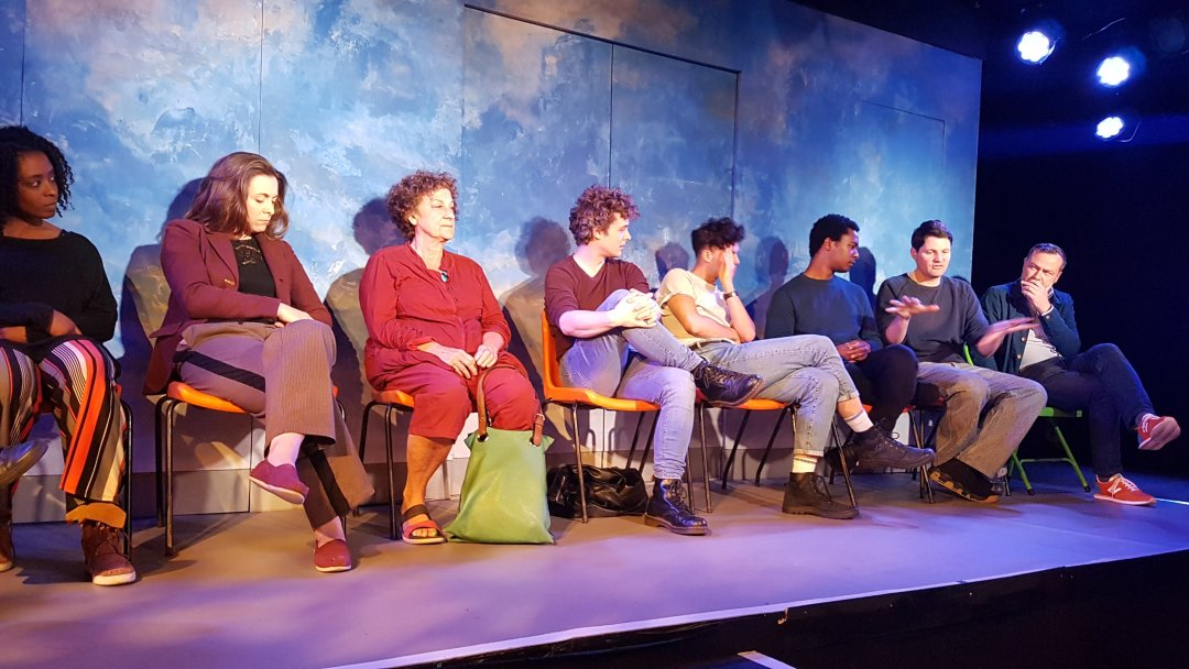 Rachel Summers, Rebecca Todd, Jane Bertish,  Connor Bannister, Tom Ross-Williams, Corey Montague-Sholay Theo Fraser Steele and director Philip Wilson at the Q&A,