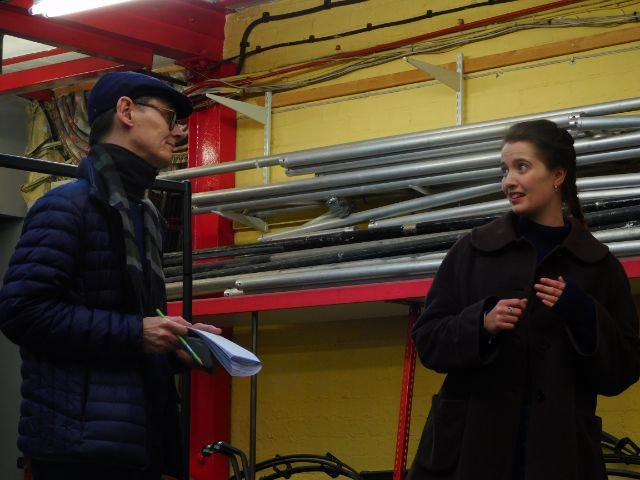 Simon Chappell (Sabartes) and Isobel Young in rehearsal