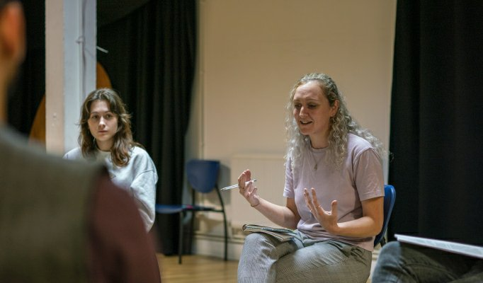 Lara Costello and Vicky Moran in No Sweat rehearsals