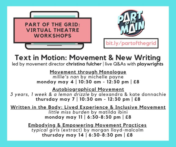 Flyer for Text in Motion workshops