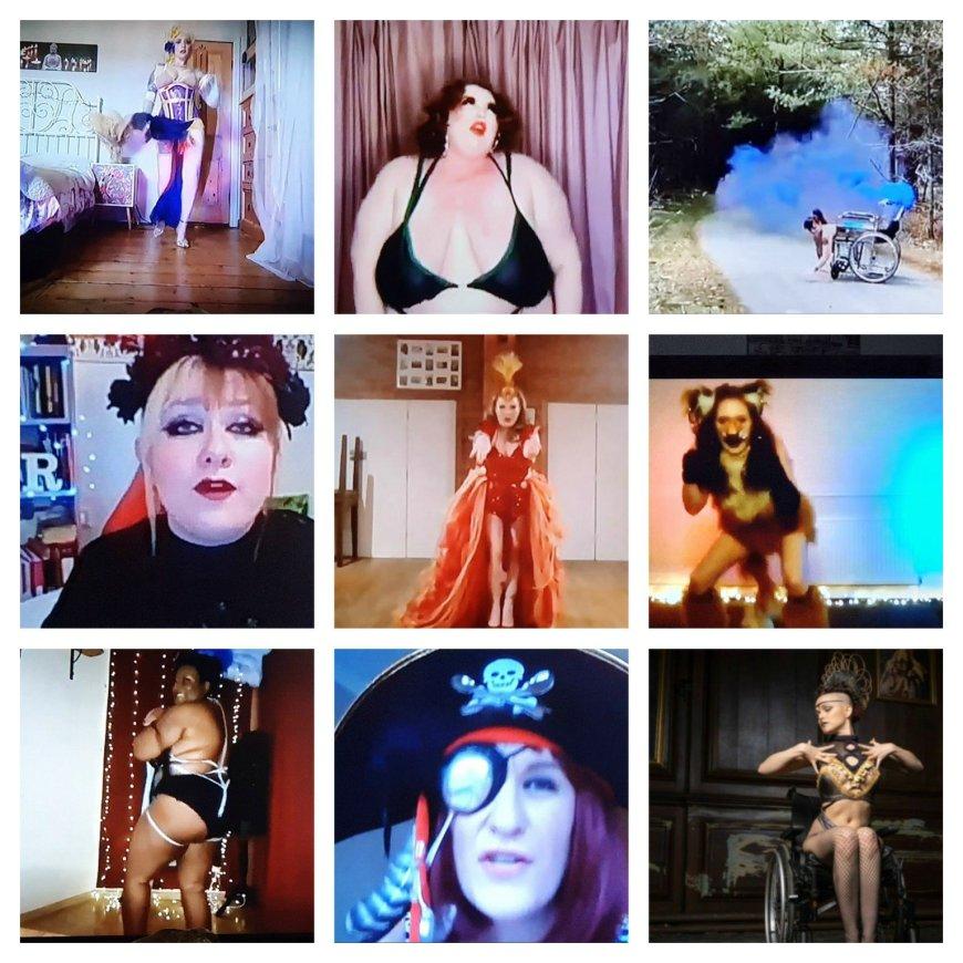 Arielle Firecracker, Piggy Rocks, Erin Ball, Rosie Verbose, Lady Phoenix, Fifi La Roux, Noeline La Bouche, La Nina The Disability Pirate, and host Little Peaches
