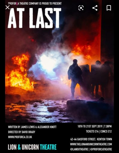 Promo poster for At Last, 2019 production at Lion & Unicorn