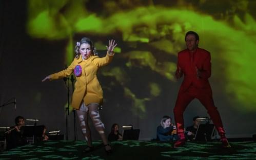Rebecca Murphy and Matthew Cavan as Vile Girl and Narrator in The Musician: A Horror Opera