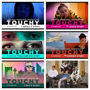 Promotional images for Touchy, a web series from 20 Stories High and Unity Theatre, Liverpool