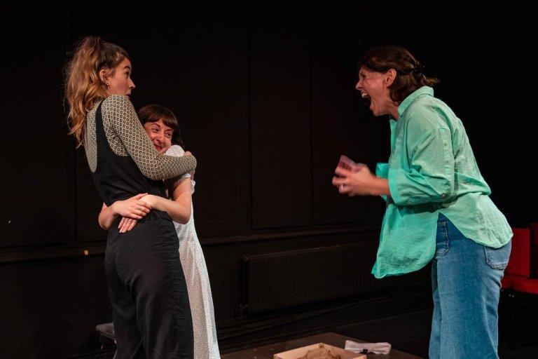 Bryony Davies, Chloe Wade and Chloe Metcalfe in Tier Three Sisters