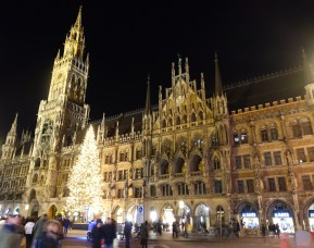 The gothic Rathaus at Marienplatz in the city centre