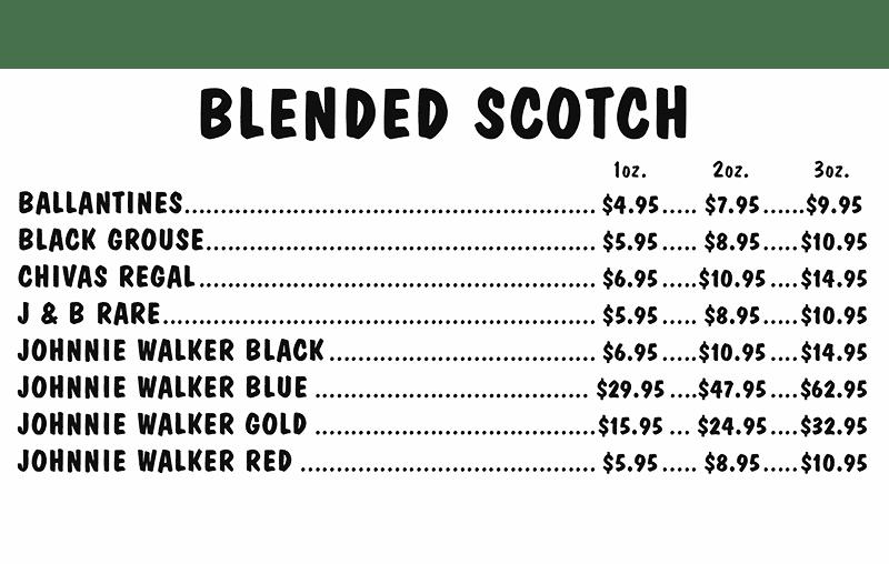 Blended Scotch Menu