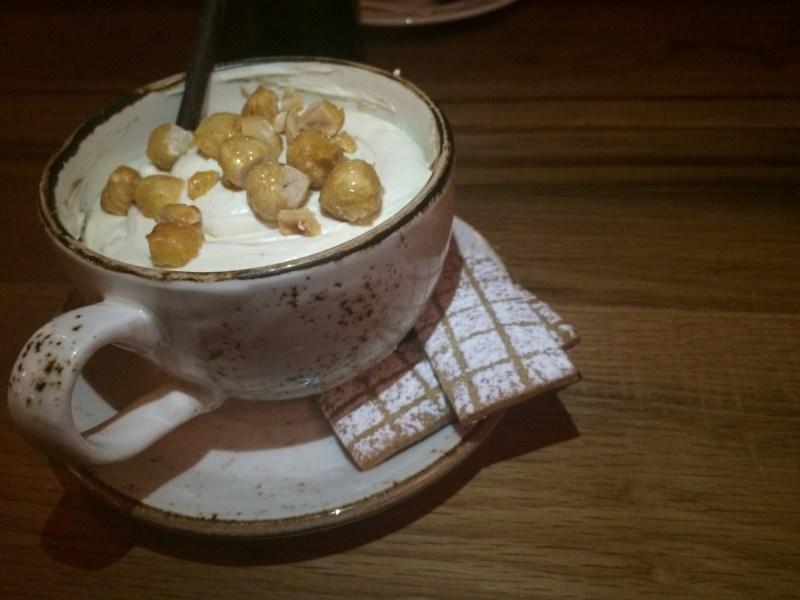 Gianduja Budino-mascarpone cream | candied hazelnut | hazelnut shortbread ($9)