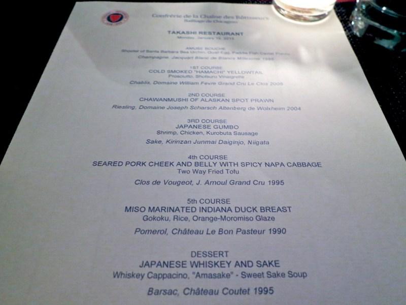 Special event menu at Takashi