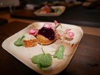 Foie Gras, Jalapeño-Blueberry Jam, and Cheddar Doughnuts by Greg Biggers of Cafe des Architectes