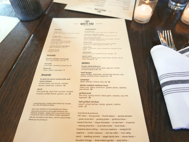 Menu at White Oak Tavern and Inn