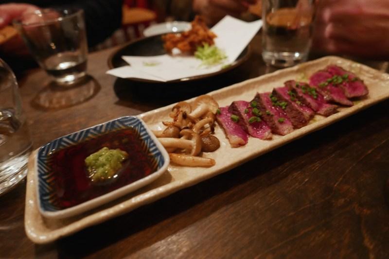 Washugyu Tataki, mushroom, Kazami-wasabi sauce. Very delicate and tender.