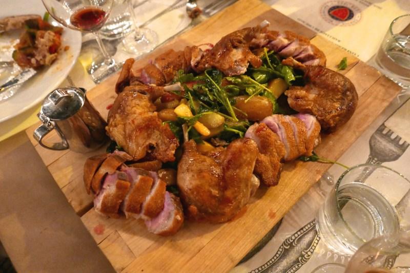 Rotisserie Duck - Duck Fat Drippings Potatoes, Backyard Salad
