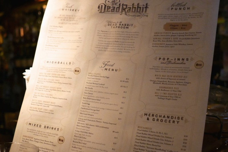 Menu at Dead Rabbit Taproom