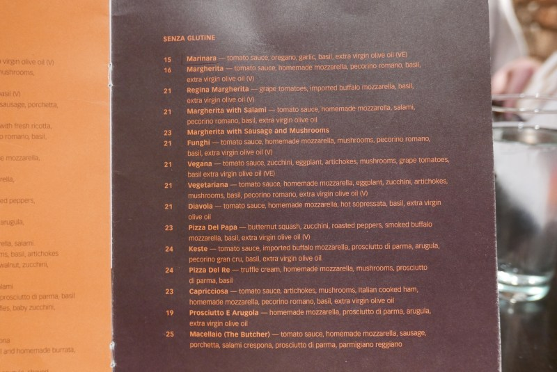 Menu at a Keste Pizza and Vino