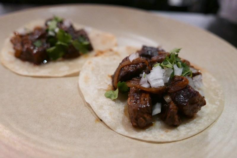 Skirt steak tacos with Mojo de Ajo