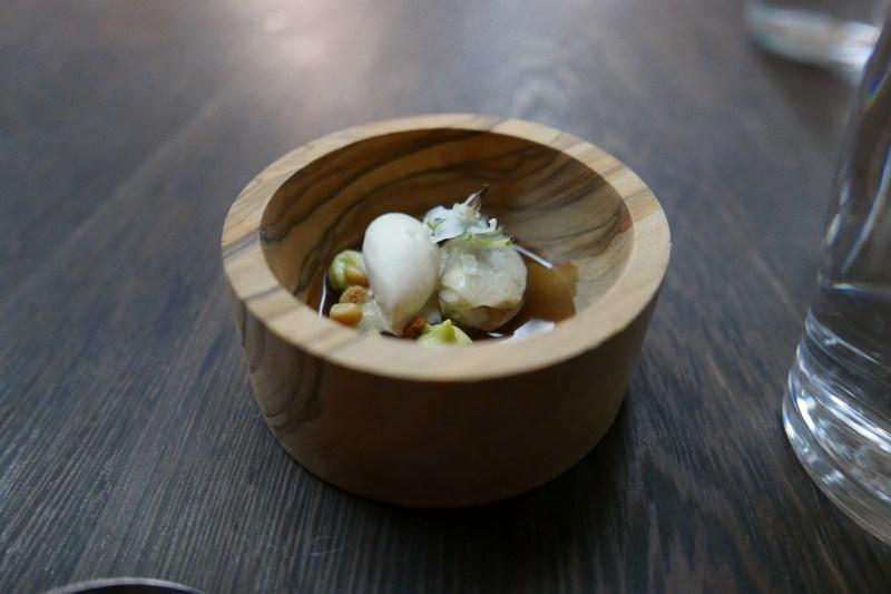 Hama Hama Oyster, Mushroom Broth, Pine Nuts