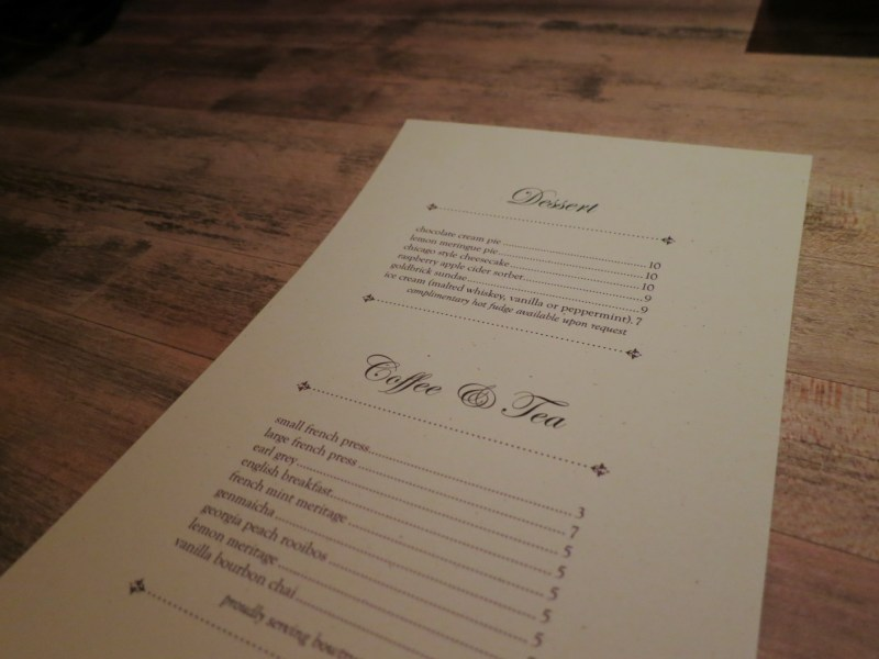 Dessert menu at Bavette's Bar & Bouef