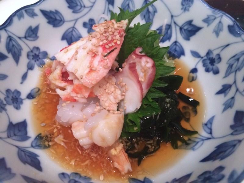 Sunomono, octopus, shrimp, jellyfish, gomae (sesame seaweed salad)