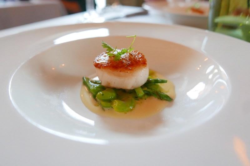 Pan-seared jumbo sea scallop spring asparagus, fava beans, yuzu buerre blanc