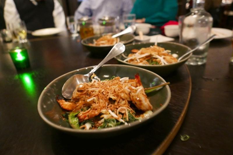 Grilled Shrimp, black bean garlic sauce, ramps, baby bok choy, bacon