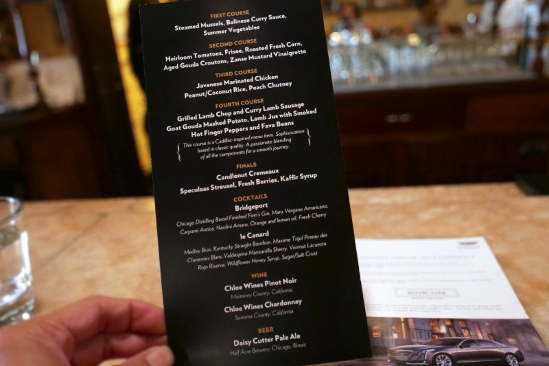 de Quay menu for Chicago Magazine Secret Supper