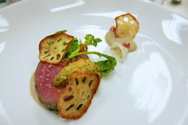 Loin of Beef, chrysanthemum chimichurri, lotus root puree, lotus root crisps