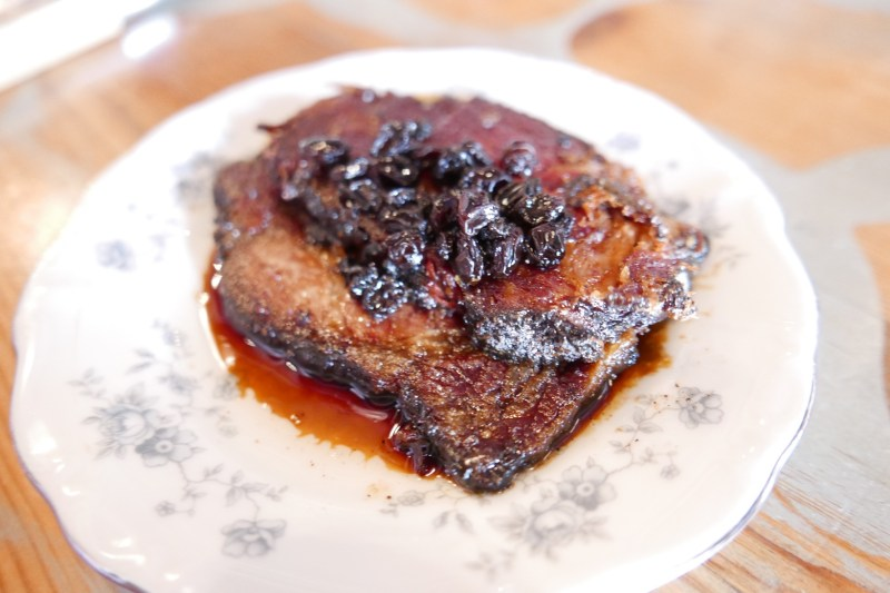 Boho Bacon, smoked pork neck currant and dark beer syrup